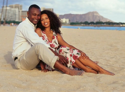 Young couple sitting on the beach