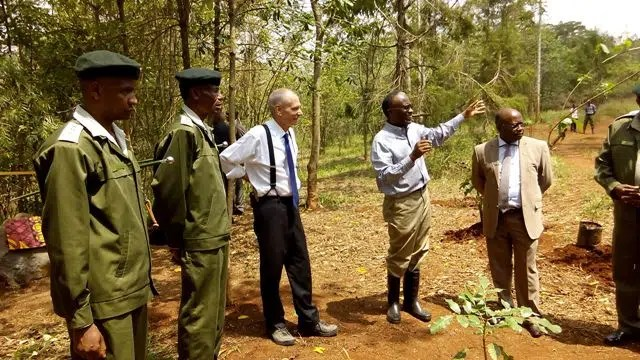 US Ambassador Godec with Professor Njoroge Karanja, Chairman Friends of Karura Forest and Acting Director Kenya Forest Service, Emilio Mugo