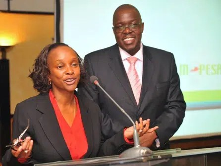 (L) Safaricom General Manager Financial Services Betty Mwangi and Safaricom Safaricom Product and Service Development Manager, Ken Okwero