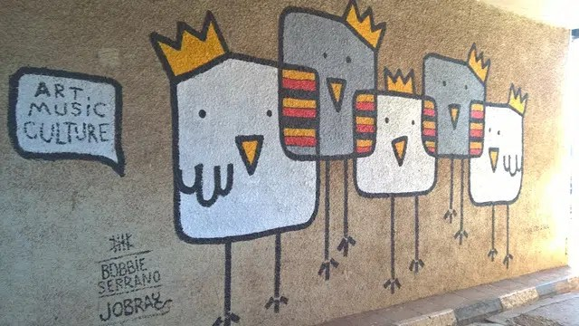 painting on one of the walls at the Kampala national Threater