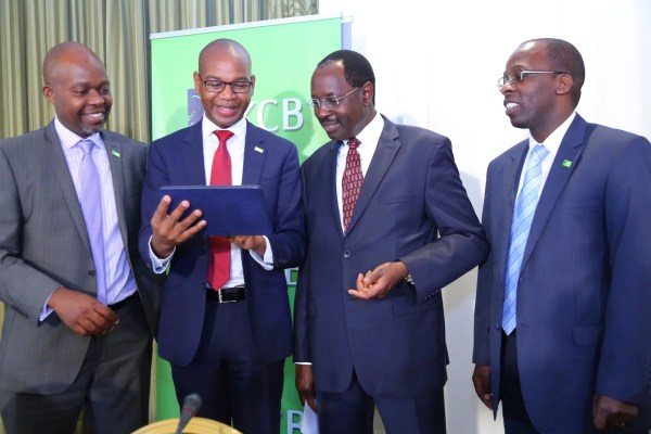 L - R KCB Group CFO Lawrence Kiambi, Group KCB Group CEO Joshua Oigara, KCB Group Chairman Ngeny Biwott and KCB CBO-MD Kenya Sam Makome. Picture courtesy of KCB Group