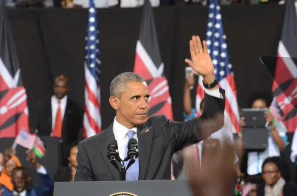 President Obama speaking at Kasarani. Photo credit US Embassy https://twitter.com/USEmbassyKenya/status/625256917393371136