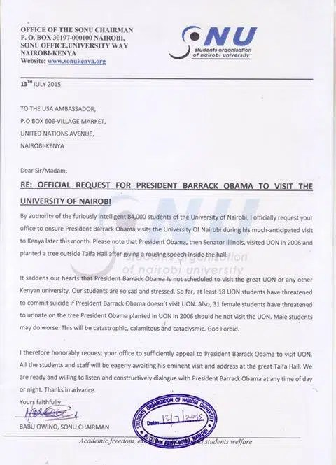 baba owino letter