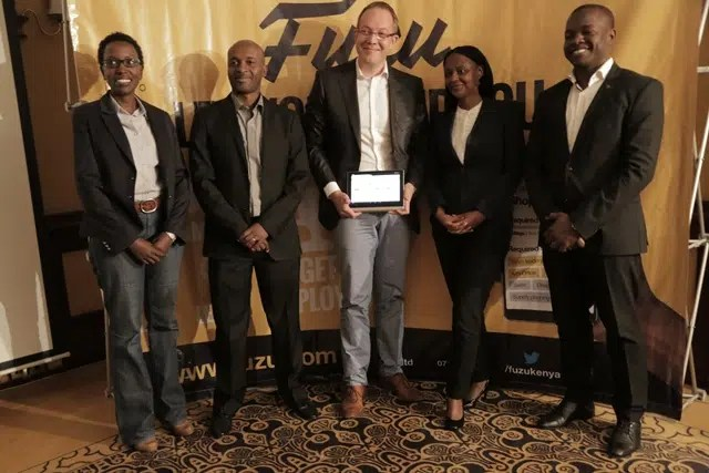 From left: Head of Human Resource, M-Kopa, Ms. NyokabiWarobi, President of Business Development Fuzu East Africa, Robert Kimani, CEO Fuzu Limited, Mr. Jussi Hinkkanen, Senior Program Manager, Rockefeller Foundation, Wairimu Kagondu and Fuzu Spokesperson, Mr. Kenneth Oyolla during the Launch of Fuzu in Kenya.
