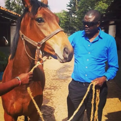 Peter Nduati with Alyce-May, a new fillie that he just entered in the racing circuit