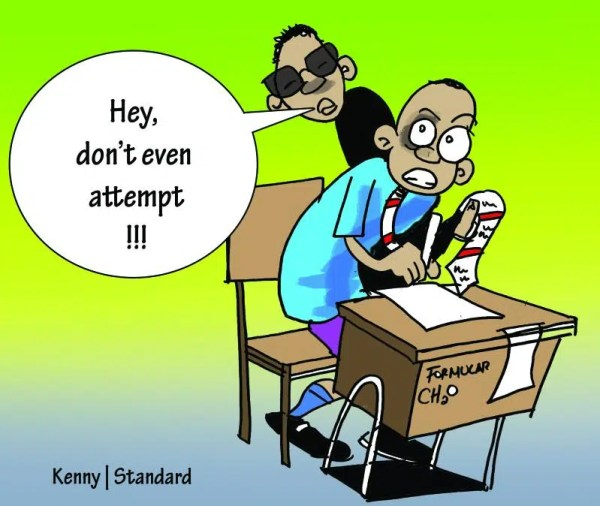 Exam cheating. Image from http://www.standardmedia.co.ke/m/story.php?articleID=2000140415&story_title=Generation-Xaxa-KCSE-candidates-maintain-purity-of-cheating