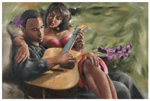 A man serenading his lady. Image from https://www.pinterest.com/pin/50172983322199280/