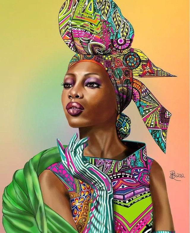 Painting of a Kenyan woman. Image by Kenya art diary https://www.pinterest.com/pin/367324913329792539/