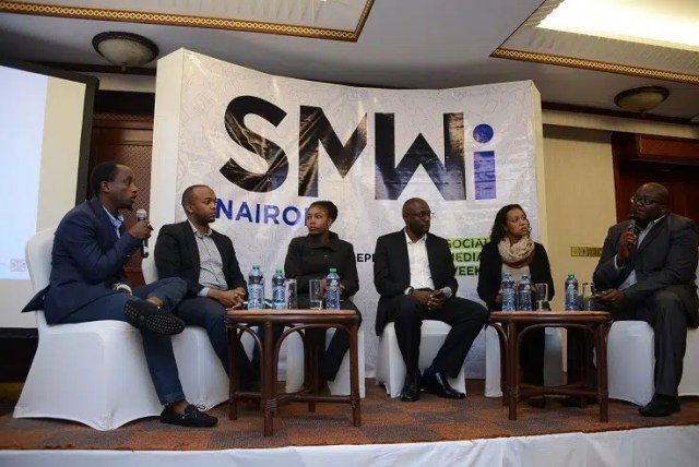 Roy Wachira (Left) of Foundry Africa and Moses Kemibaro (right) of Dotsavvy moderates a panel session at Social Media Week independent (SMWi) Partner launch at Serena Hotel in Nairobi. The panelists discussed the role of social media in businesses. Nairobi will be among five other cities globally that will run the Social Media Week independent (SMWi) from 12th to 16th September. This is the first time the globally acclaimed conference will take place in Kenya.