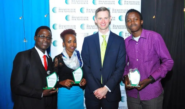 UoN College of Agriculture and Veterinary sciences (CAVS) students from Left to right; David Elgon, Judith Mahungu and David Mahungu,  receive recognition from Mr. Neill Coleman, the Rockefeller Foundation Vice President, Global Communications for their agricultural innovations. Photo courtesy of The Rockfeller Foundation