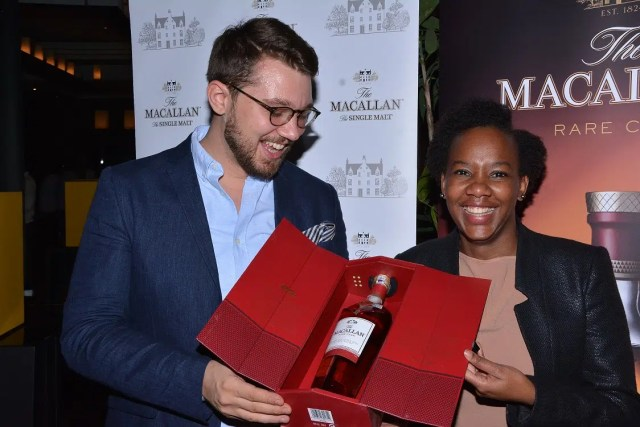 The Macallan Whiskey Brand ambassador for Middle East and Africa Peter Allison (left) with WOW Beverages Head of Marketing Nyawira Kariuki during the launch of The Macallan Rare Cask single malt whiskey at Capital Club, in Nairobi. Kenya is the second country in Africa to launch The Macallan Rare Cask after South Africa. Picture courtesy of WOW Beverages