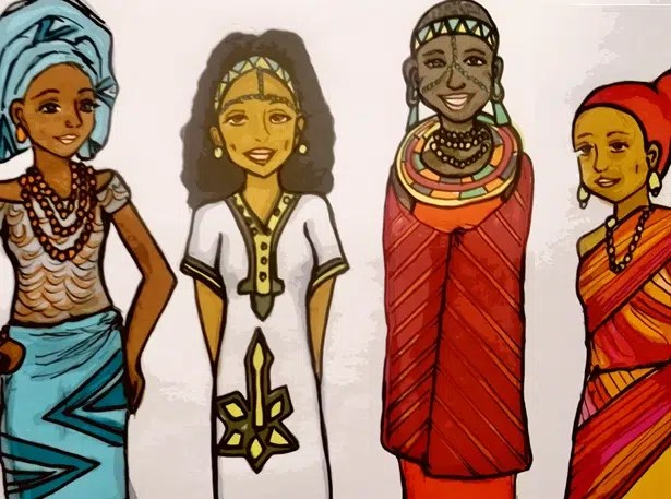 Girls from different places in Africa. Image from http://gadvide.tumblr.com/post/42780386488/left-to-right-nigeria-ethiopia-kenya