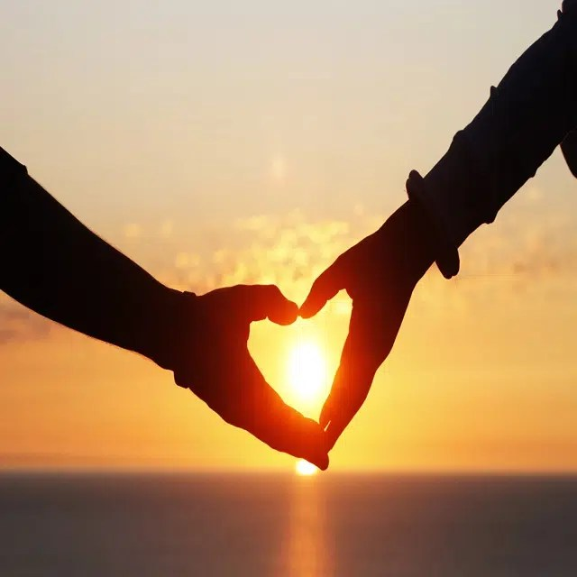 Romance: Love heart in the sunset Image
