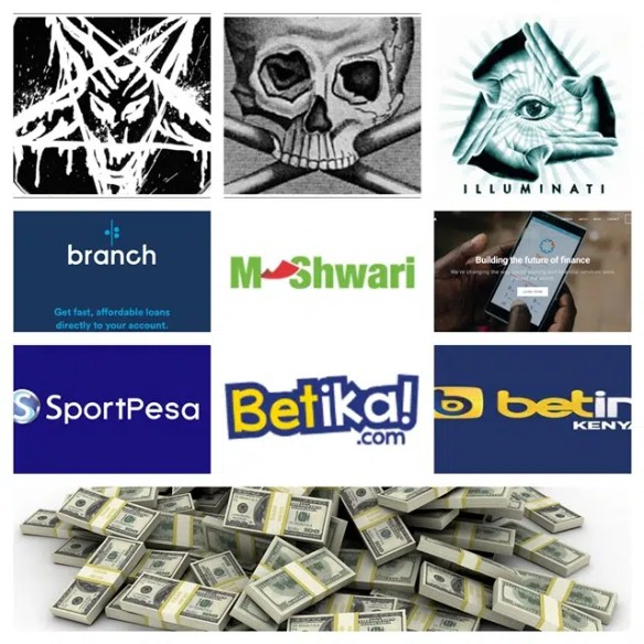 Illuminati, Betting & Money lending apps collage