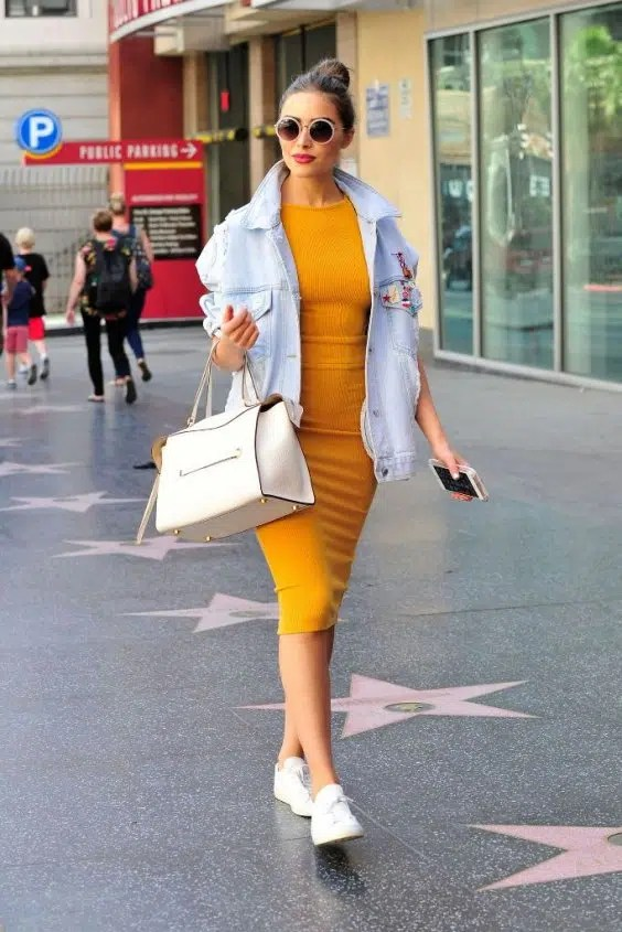 Bodycon dress with denim jacket and pants retail stores