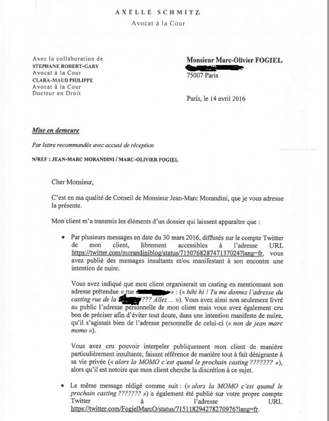 Affaire Morandini : Le journaliste publie la mise en demeure ...