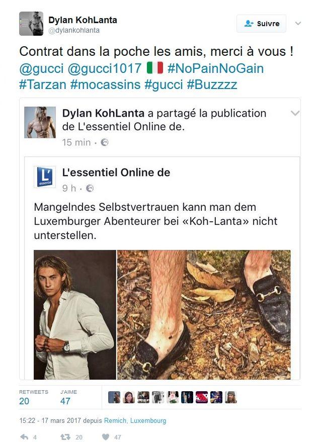 #KohLanta : Dylan bientôt sous contrat avec Gucci grâce à ses mocassins ? La marque répond !