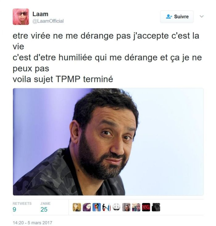 #TPMP : Lââm demande des excuses publiques à Cyril Hanouna