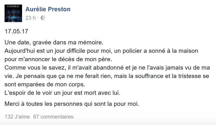 Aurélie Preston endeuillée par la mort de son père