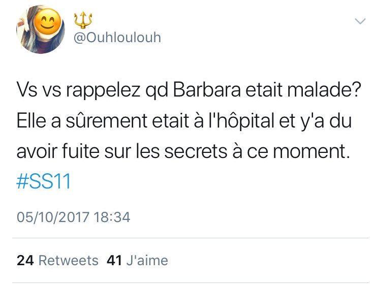 #SS11 : Barbara : Connait-elle les secrets ? Les internautes doutent