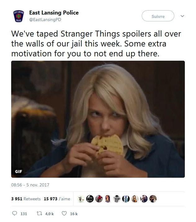 Stranger Things : Quand la police menace les délinquants de leur spoiler la série !