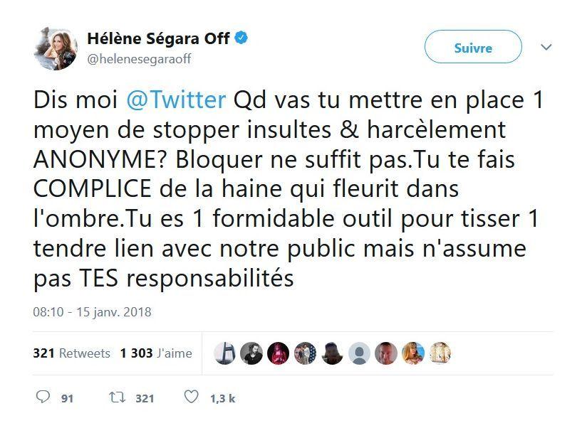 Sa réponse osée à une fan, la chanteuse se lâche sur Twitter — Hélène Ségara