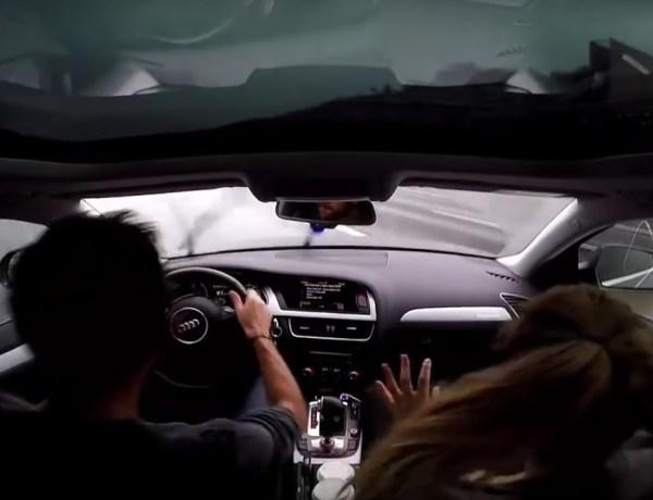 Un conducteur fait un aquaplaning impressionnant à 140 km/h