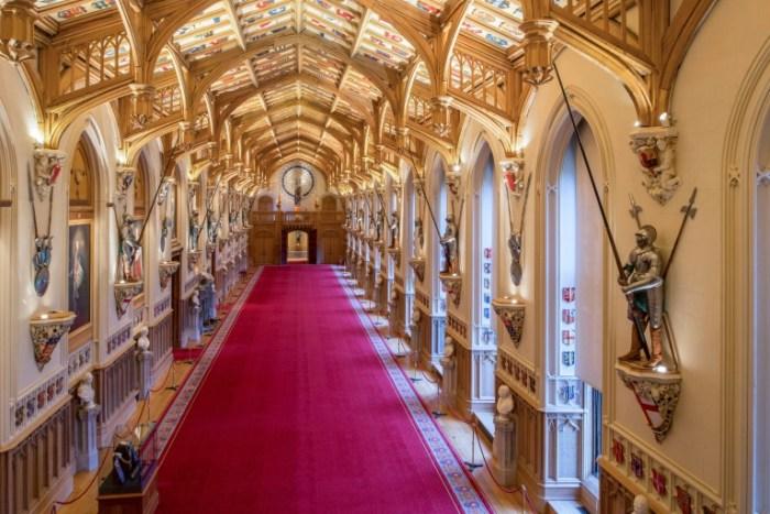 St George's Hall, majestueuse salle de banquets du château de Windsor, le 11 février 2018, où le prince Harry et Meghan Markle donneront une réception après leur mariage
