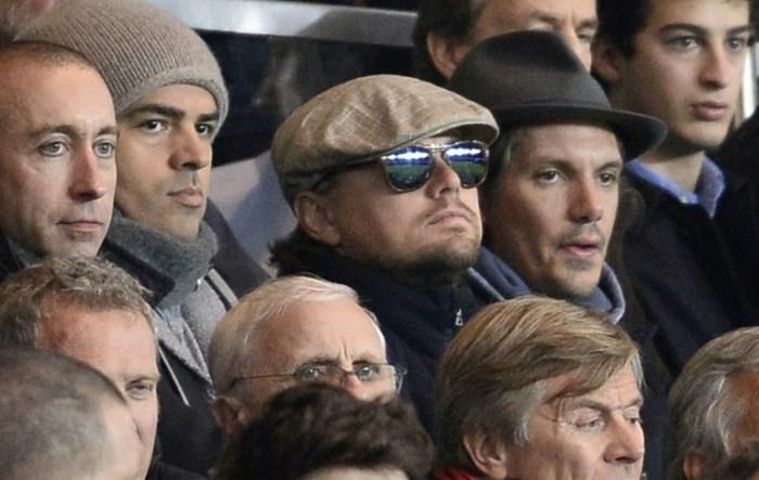 L'acteur américain Leonardo Di Caprio au Parc des Princes pour le match de Ligue des champions PSG-Anderlecht, le 5 novembre 2013