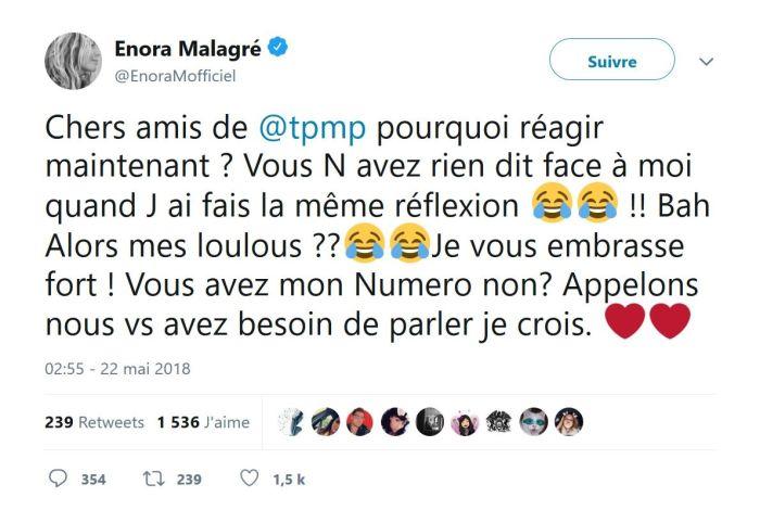 Enora Malagré : Les chroniqueurs de TPMP « payés à rien foutre » lui répondent !