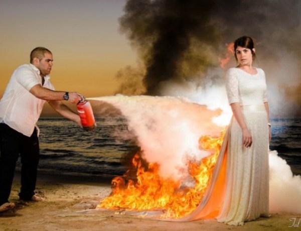 Un homme met le feu à la robe de mariée de sa femme, sa maison part en fumé