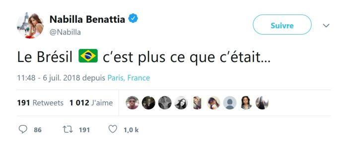 Coupe du Monde 2018 : Le tweet de Nabilla Benattia sur le Brésil qui ne passe pas !
