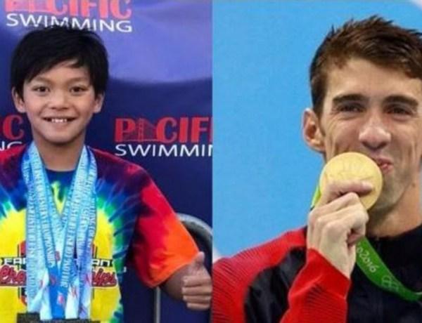 Michael Phelps félicite le petit garçon de 10 ans qui a battu son record