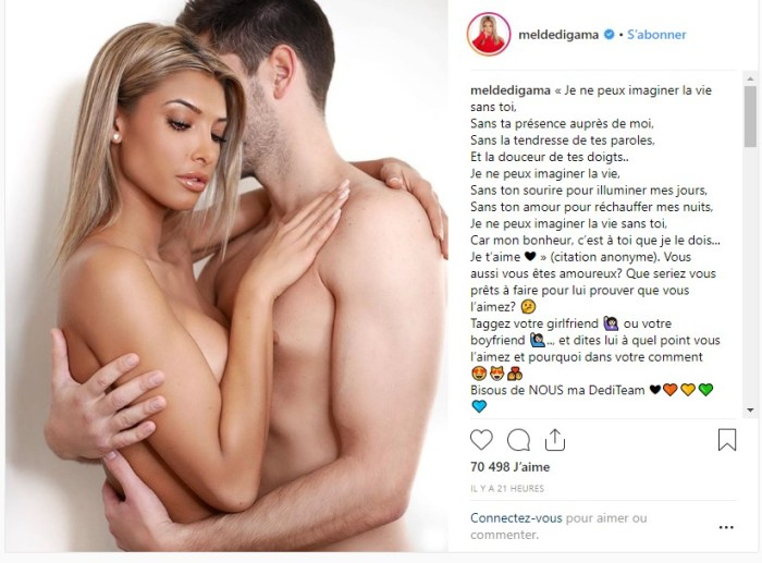 Mélanie Dedigama topless dans les bras de son chéri