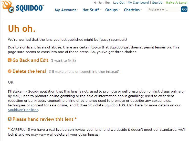 Squidoo UhOh message