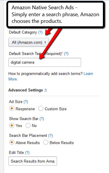 Amazon Native Search Ads example from PotPieGirl