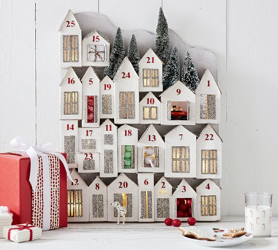 Glitter Lit Houses Advent Calendar Pottery Barn