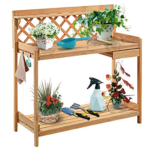 Wooden Plant Flower Potting Bench Greenhouse Work Staging Table with Shelf