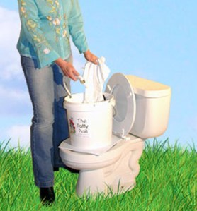 Showing easy to clean cloth diapers using the Potty Pail