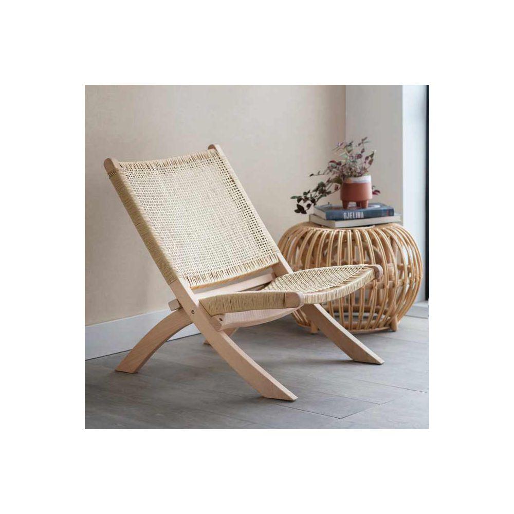 chaise tissee en hetre naturel et assise en rotin