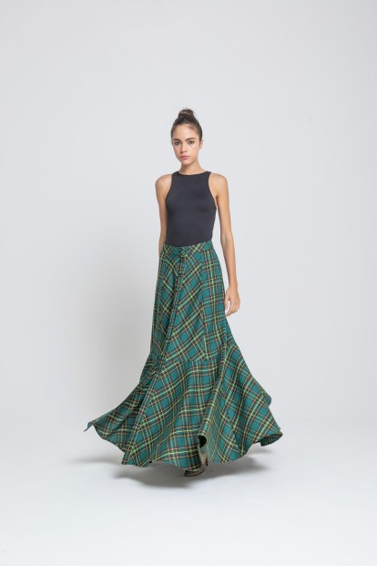 Flared skirt Green tartan