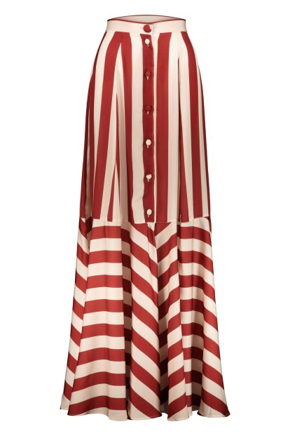 Poupine Button flared bordeaux striped skirt