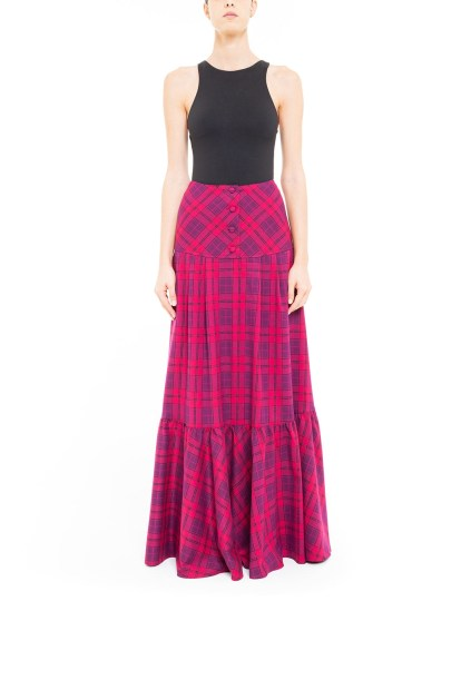 Gonna ruota con baschina tartan Fucsia
