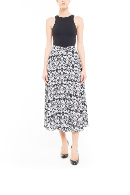 Black and white midi ikat skirt with covered buttons