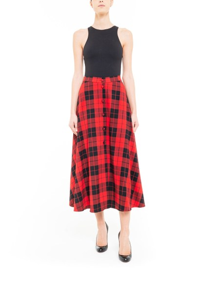 Red and black midi skirt with plaid covered buttons