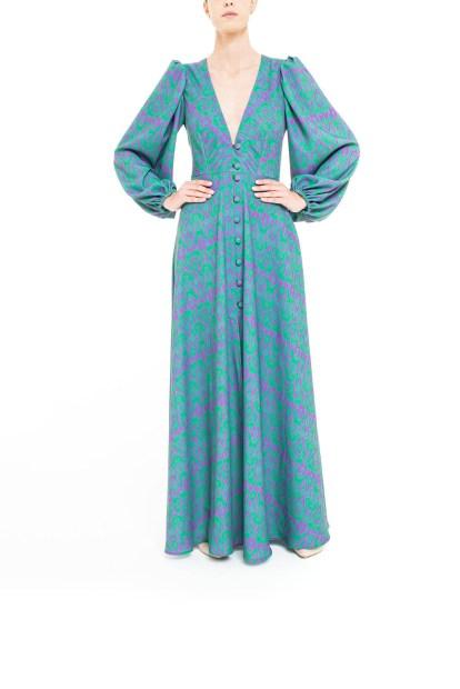 Vestito lungo ikat Viola e Verde
