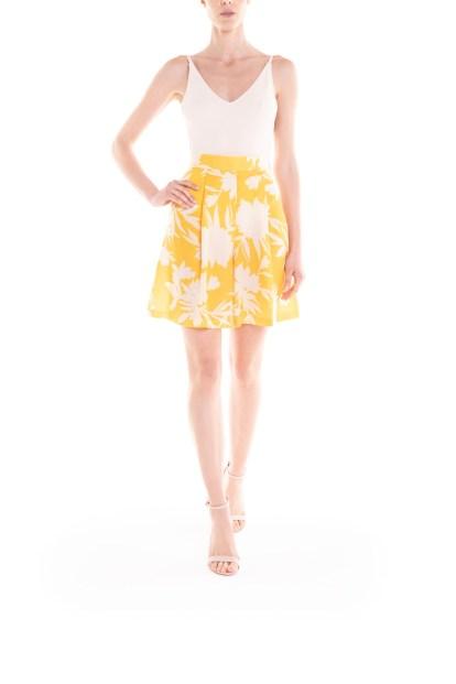 Bermuda a fiori giallo e panna Poupine