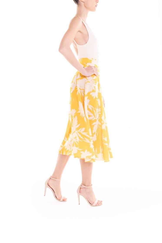 Gonna longuette a fiori giallo e panna Poupine