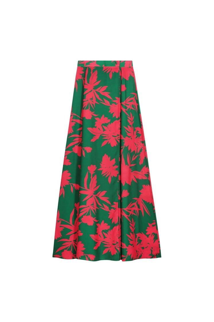 Gonna portafoglio a fiori verde e fucsia Poupine