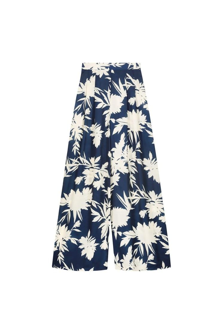 Pantalone a fiori blu e panna Poupine